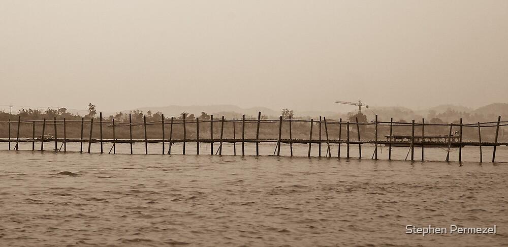 Footbridge on Maekong - Laos by Stephen Permezel