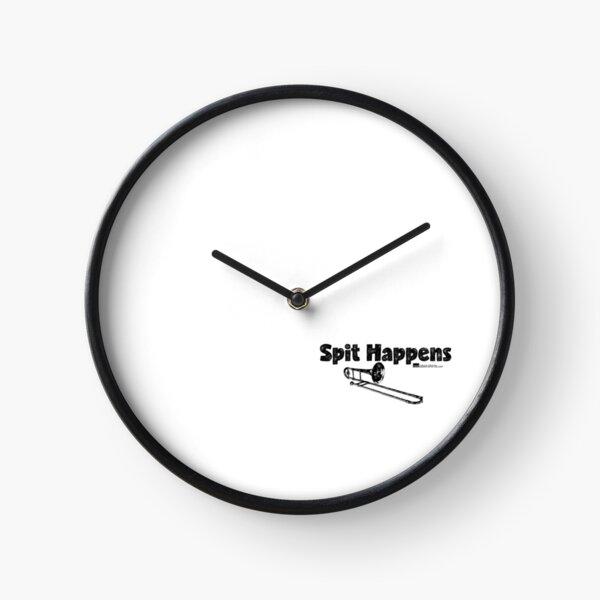 Spit Happens - Trombone (Black Lettering) Clock