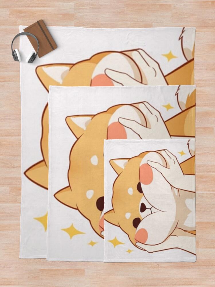 Alternate view of Kawaii Shiba inu Throw Blanket