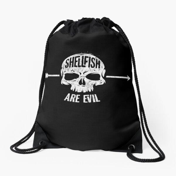 Shellfish are Evil -  Skull and Arrow Allergy Drawstring Bag