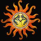 Deco Southwest Sun and Kokopelli Art by Walter Colvin