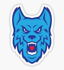 Angry Blue Wolf Logo Sticker