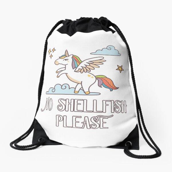 No Shellfish Please - Unicorn Theme for Shellfish Allergy Kids Drawstring Bag