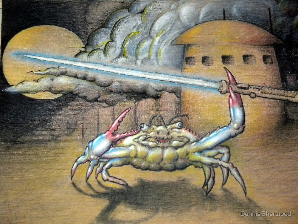 Angry crab with a weapon by Dennis Sherwood