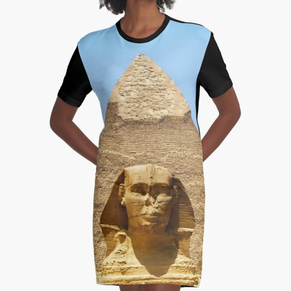 Sphinx and Pyramid Graphic T-Shirt Dress