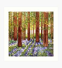 Bluebells, Cambridge, England -Original Alcohol Ink Print Art Print