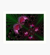 Fractal Red Butterfly Art Print