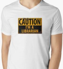 CAUTION I'm a Librarian - Funny Metal Danger Warning Sign T-Shirt
