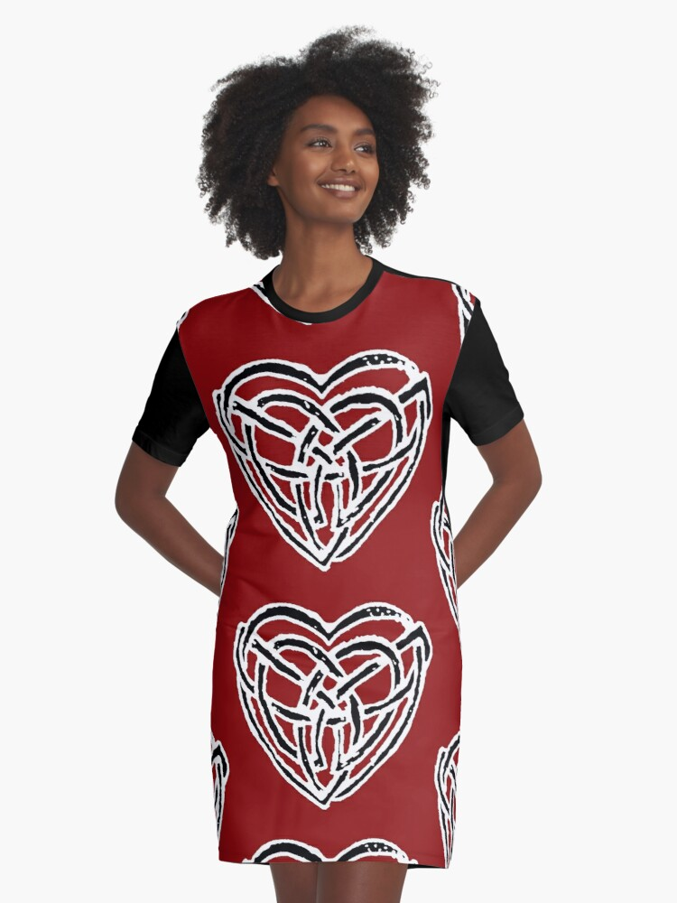 Celtic Heart Graphic T-Shirt Dress Front