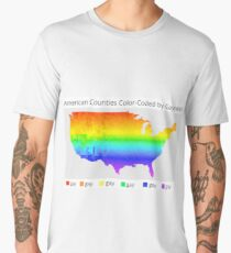 Map of American Counties Color-Coded by Gayness Men's Premium T-Shirt