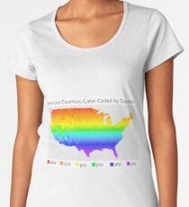 Map of American Counties Color-Coded by Gayness Women's Premium T-Shirt