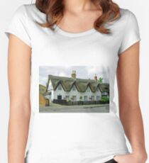 Thatched Cottages In Repton Women's Fitted Scoop T-Shirt
