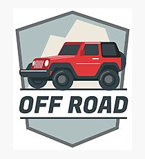 OFF ROAD Red SUV Logo Photographic Print