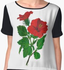 A Tropical Red Hibiscus Flower with Aloha Text Chiffon Top