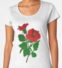 A Tropical Red Hibiscus Flower with Aloha Text Women's Premium T-Shirt