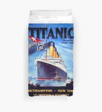 Titanic, oversea cruiser, tragedy, vintage travel poster Duvet Cover