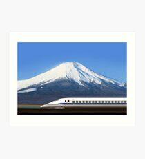 Mount Fuji and Tokaido Shinkansen, Shizuoka, Japan Art Print