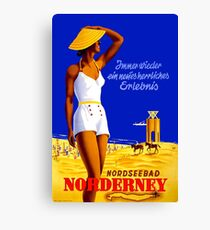 Norderney, beach, Germany, girl in swimsuit, vintage travel poster Canvas Print