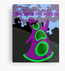 Purple Tentacle- With Text (with background) Metal Print
