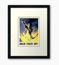 WW2, airplane fight, vintage propaganda poster Framed Print