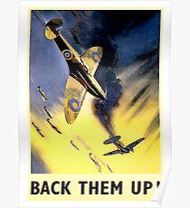 WW2, airplane fight, vintage propaganda poster Poster