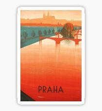 Pegatina Praga, Praga, puentes, cartel de viaje vintage