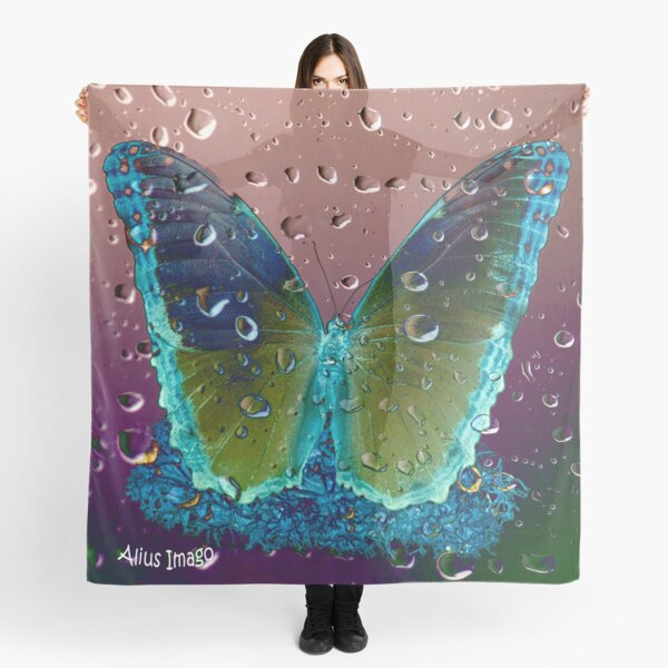 Raindrops - Columbia Blue Butterfly Scarf