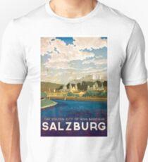 Salzburg, Austria, golden city, baroque, vintage travel poster T-Shirt