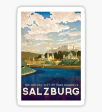 Salzburg, Austria, golden city, baroque, vintage travel poster Sticker