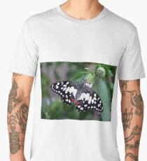 Butterfly with black, white and red wings in nature Men's Premium T-Shirt