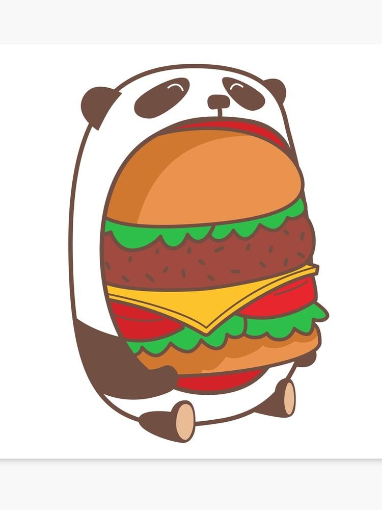 Hungry Kawaii Panda Canvas Print