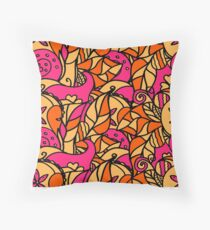 Curved doodling background.Mehndi tracery colorful  handmade texture ethnic Throw Pillow