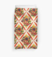 Retro Poppies Red and Yellow Duvet Cover