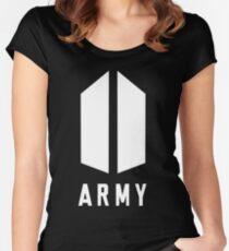 Army Wihte Women's Fitted Scoop T-Shirt