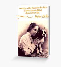 Helen Keller with Her Boston Terrier  Greeting Card