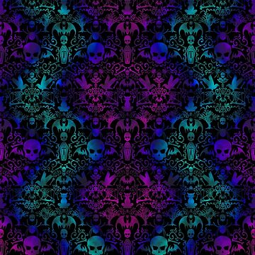 Goth Everything Damask teal & purple by lilibat