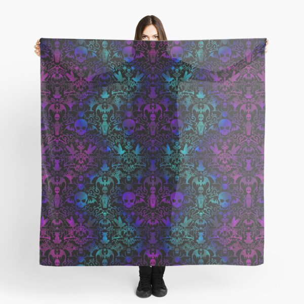 Goth Everything Damask teal & purple Scarf
