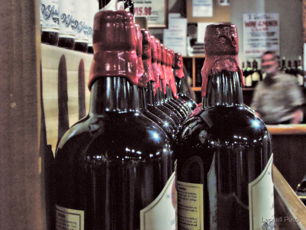 Wine bottles by Leonell Puso