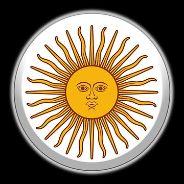 Sol de Mayo, ARGENTINA SUN, Argentinia, Argentinian, white button, on BLACK by TOMSREDBUBBLE