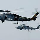 Ein SH-60F und HH-60H Seahawk Hubschrauber im Flug. von StocktrekImages