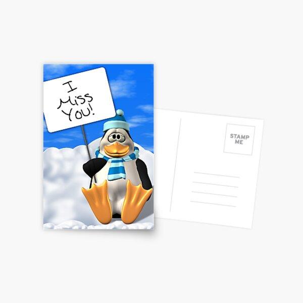 I Miss You Penguin Card Postcard