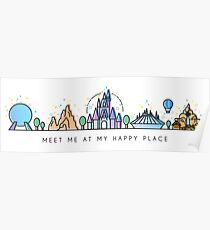 Meet me at my Happy Place Vector Orlando Theme Park Illustration Design Poster