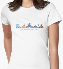 Meet me at my Happy Place Vector Orlando Theme Park Illustration Design Women's Fitted T-Shirt