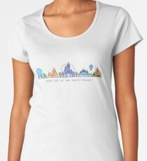 Meet me at my Happy Place Vector Orlando Theme Park Illustration Design Women's Premium T-Shirt