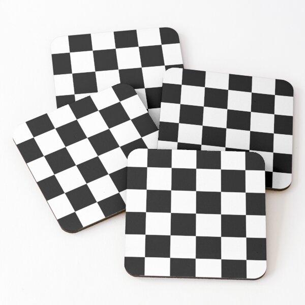 CHECK, Pattern, Checks, Checkered, Black & white. Coasters (Set of 4)
