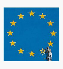 Banksy Brexit mural of man chipping away at EU flag  Photographic Print