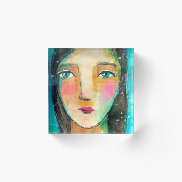 Face I - or The Snow is ever Falling Acrylic Block