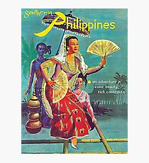 Philippinen, Frau, Weinlesereiseplakat Fotodruck