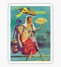 Philippines, woman, vintage travel poster Sticker
