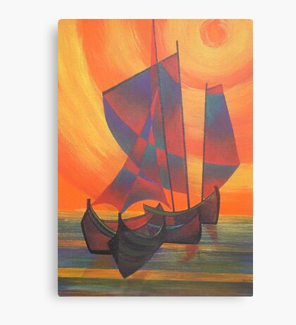 Red Sails in the Sunset Cubist Junk Abstract Canvas Print